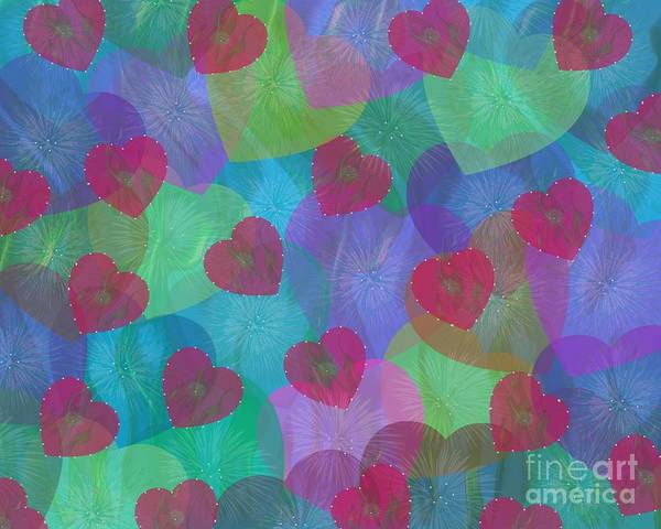 Digital Art - Hearts Aflame by Diamante Lavendar