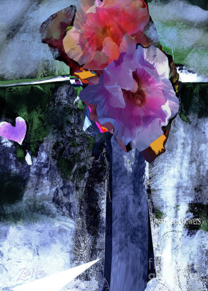 Wall Art - Mixed Media - Hearts And Flowers Love At First Light  No 3 by Zsanan Studio