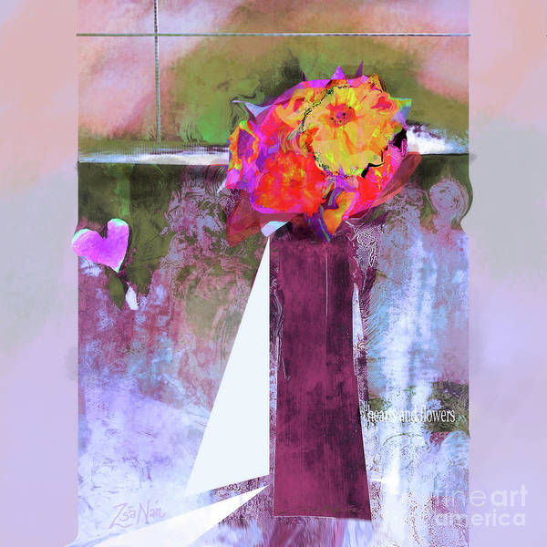 Wall Art - Mixed Media - Hearts And Flowers Love At First Light  Series   No 4  by Zsanan Studio
