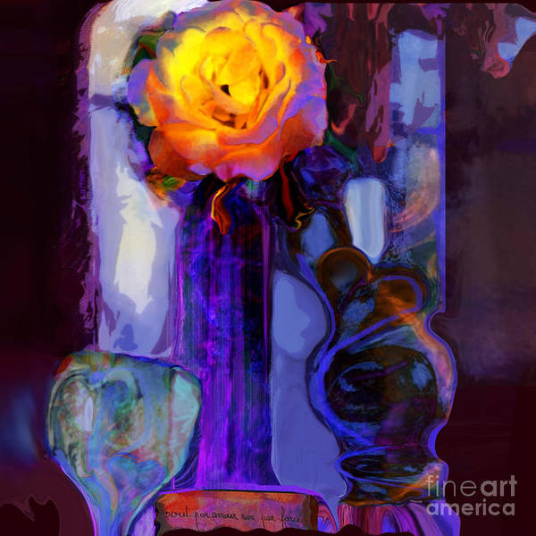 Organic Abstraction Mixed Media - Hearts And Flowers  by Zsanan Studio