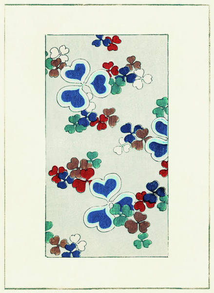 Wall Art - Painting - Heart's Clover - Japanese Traditional Pattern Design by Watanabe Seitei