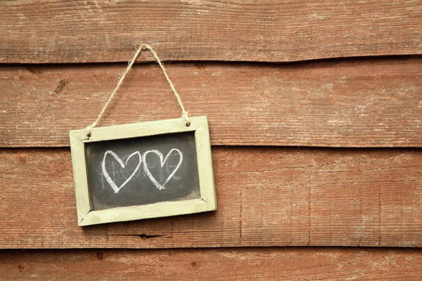 Hanging Rock Photograph - Hearts Drawn On Small Board Outdoor by Emma Innocenti