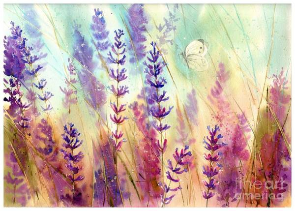 Wild Flowers Wall Art - Painting - Heathers In Haze by Suzann's Art