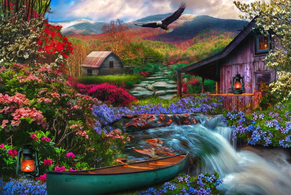 Photograph - Heaven On Earth In The Mountains In Watercolors by Debra and Dave Vanderlaan