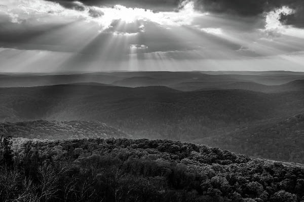Photograph - Heaven's Light From White Rock Mountain - Ozark National Forest Monochrome by Gregory Ballos