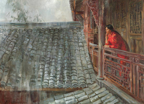 Wall Art - Painting - Heavy Rain In Sichuan Province by Victoria Kharchenko
