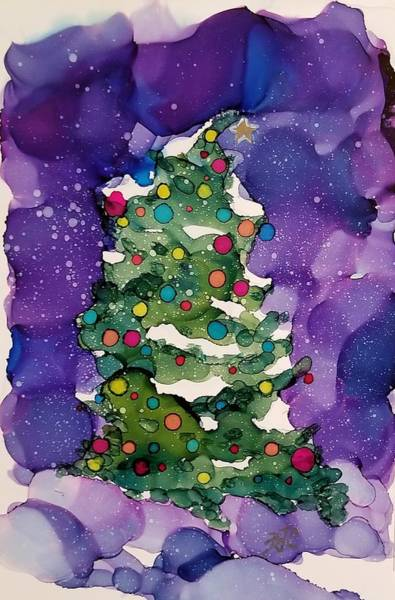 Wall Art - Painting - Heavy Snow Christmas Tree by Billie Colson