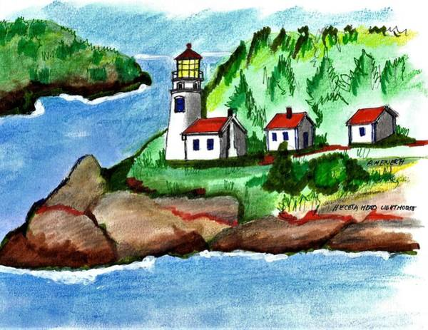 Wall Art - Drawing - Heceta Head Lighthouse by Paul Meinerth
