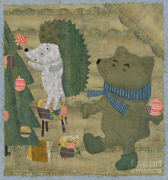 Wall Art - Digital Art - Hedgehog And Bear Dress Up Christmas by Dmitriip