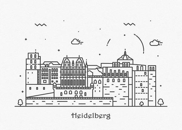 Landmark Center Drawing - Heidelberg Cityscape Travel Poster by Inspirowl Design