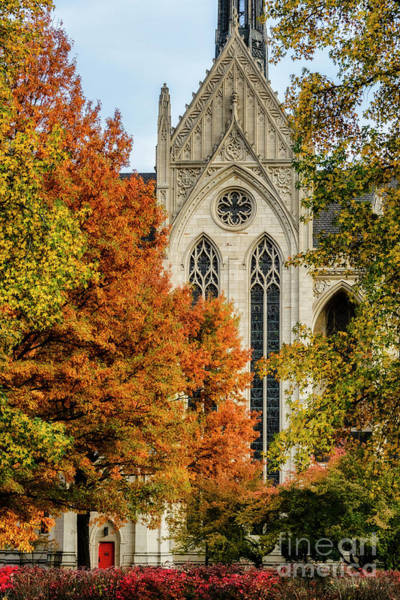 Photograph - Heinz Chapel Autumn Trees by Thomas R Fletcher