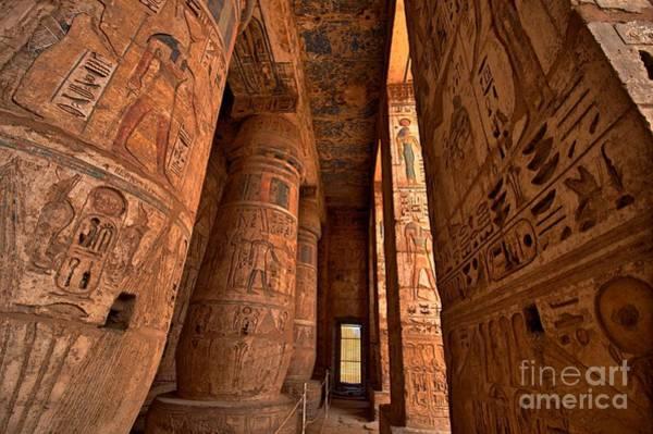 Mythology Wall Art - Photograph - Heiroglyphs At Medinat Habu. Luxor by Eastvillage Images
