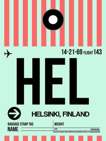 Wall Art - Digital Art - Hel Helsinki Luggage Tag I by Naxart Studio