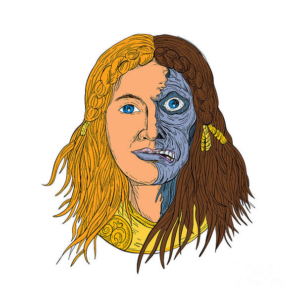 Wall Art - Digital Art - Hel Norse Goddess Face Front Drawing Color by Aloysius Patrimonio