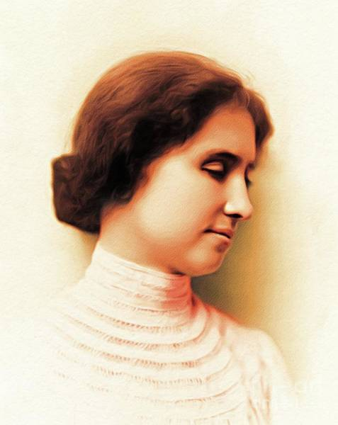 Wall Art - Painting - Helen Keller, Author by John Springfield