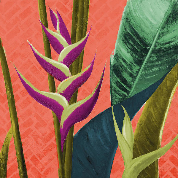Heliconia Wall Art - Mixed Media - Heliconias With Leaves On Orange by Patricia Pinto