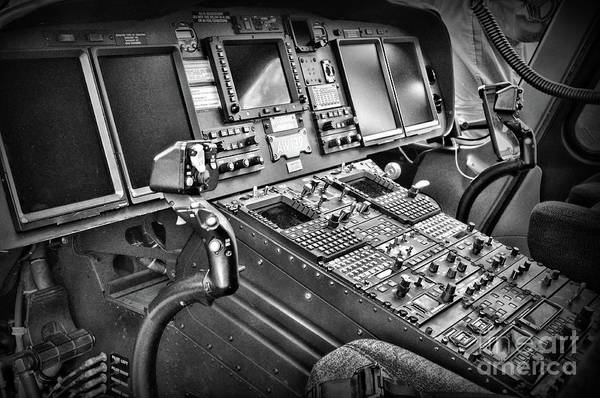 Wall Art - Photograph - Helicopter Instrument Panel Of The Aw139 Black And White by Paul Ward