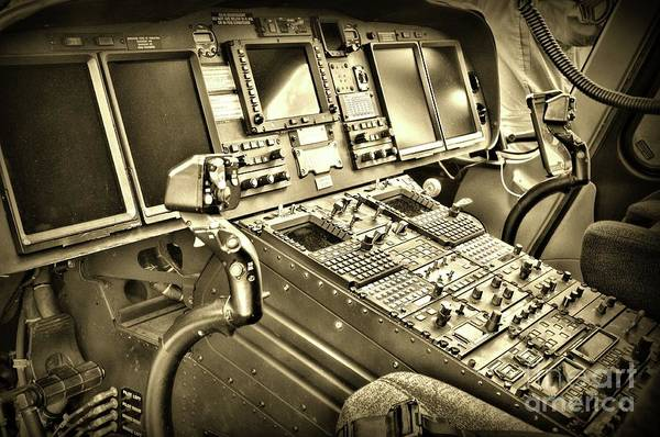 Wall Art - Photograph - Helicopter Instrument Panel Of The Aw139 Sepia by Paul Ward