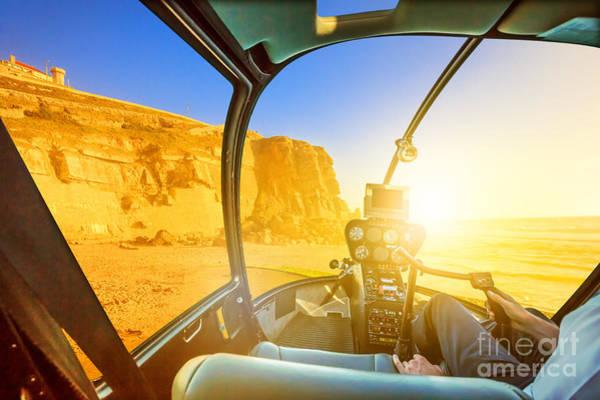 Azenhas Photograph - Helicopter On Azenhas Do Mar Beach by Benny Marty