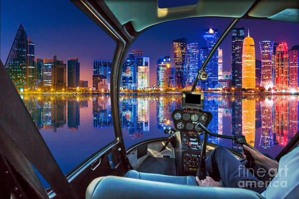 Photograph - Helicopter On Doha Bay by Benny Marty