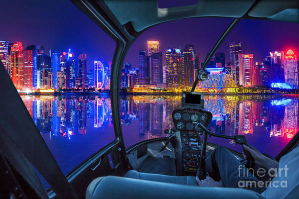 Photograph - Helicopter On Doha Harbor by Benny Marty