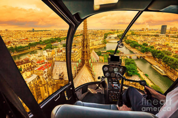 Photograph - Helicopter On Notre Dame At Sunset by Benny Marty