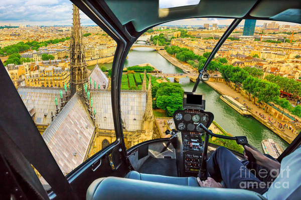 Photograph - Helicopter On Notre Dame Church Roof by Benny Marty