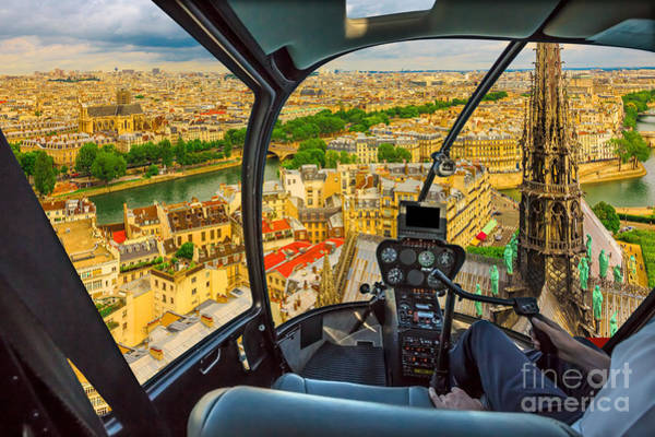 Photograph - Helicopter On Notre Dame Skyline by Benny Marty