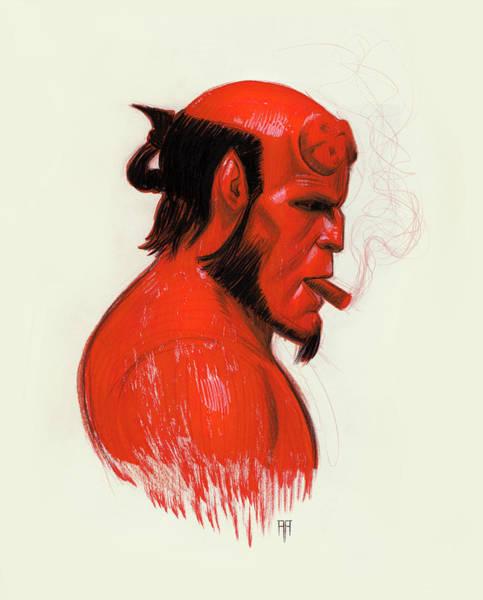 Marker Drawing - Hellboy by Alex Ruiz