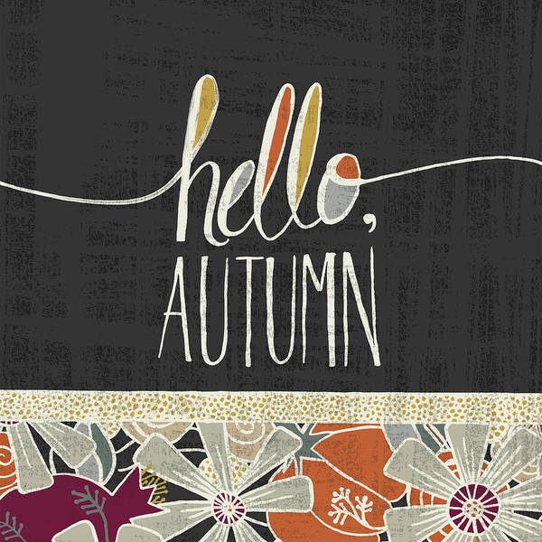 Painting - Hello Autumn Fall Art Black Background by Jen Montgomery