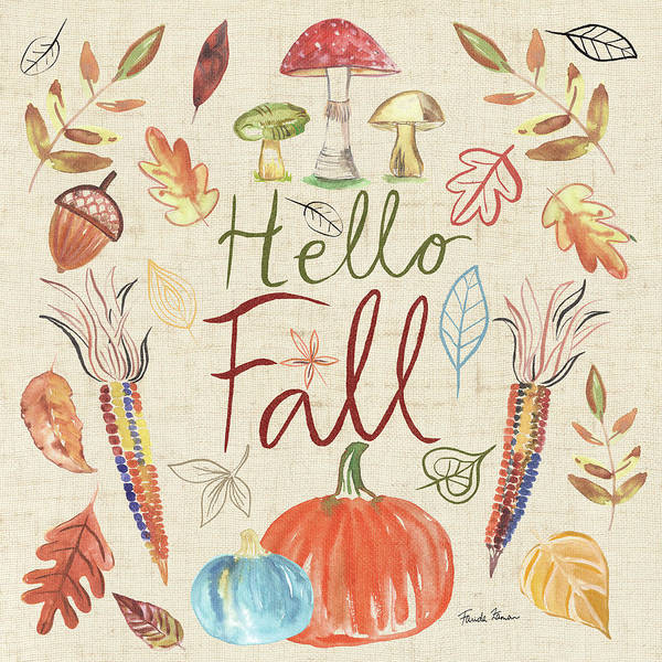 Wall Art - Painting - Hello Fall I Sq Burlap by Farida Zaman