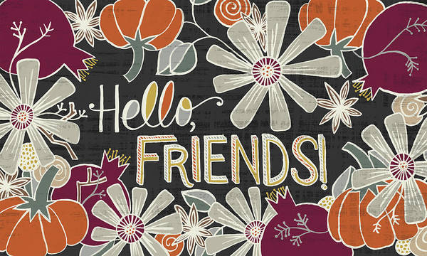 Painting - Hello Friends Fall Art Black Background by Jen Montgomery