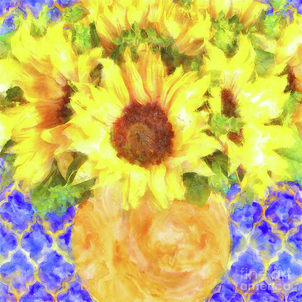 Wall Art - Painting - Hello Gorgeous Sunflower Bouquet Watercolor Floral Art by Tina Lavoie