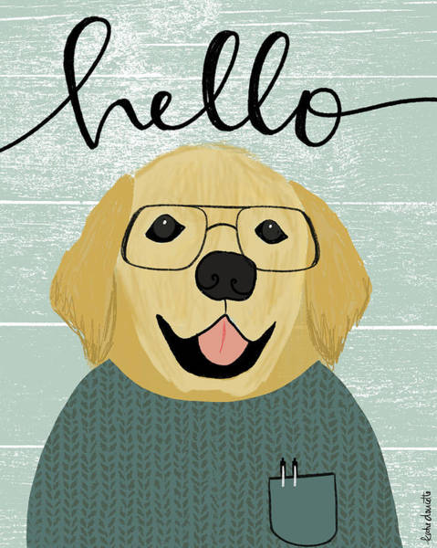 Wall Art - Mixed Media - Hello Retriever by Katie Doucette