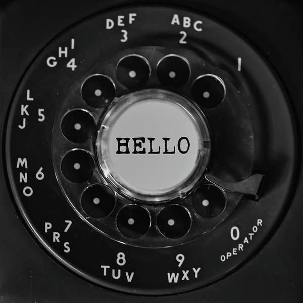 Photograph - Hello Rotary Black Phone Dial Square by Terry DeLuco