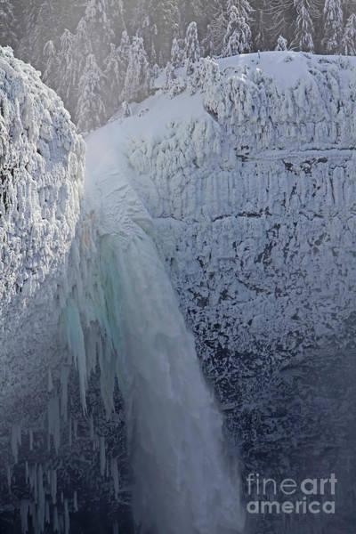 Photograph - Helmcken Falls Top Portion, Winter, Frozen by Darrel Giesbrecht