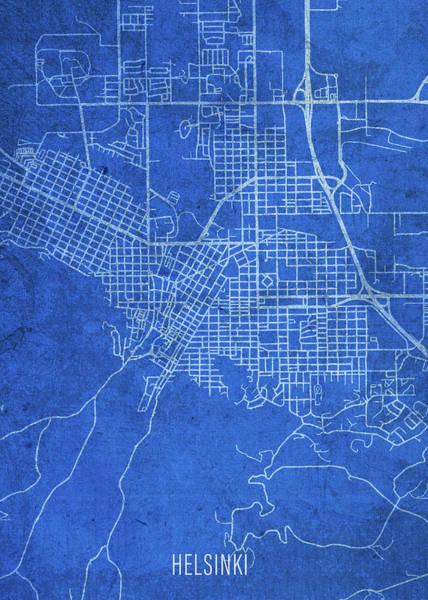 Wall Art - Mixed Media - Helsinki Finland City Street Map Blueprints by Design Turnpike