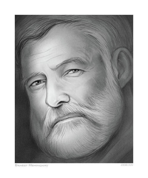 Pencil Drawing - Hemingway by Greg Joens