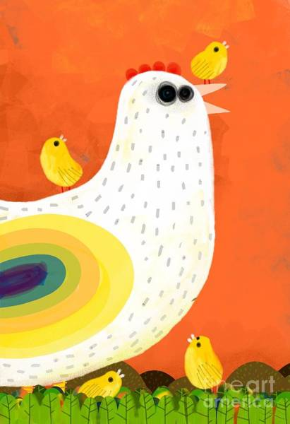 Wall Art - Digital Art - Hen Takes Care Of Its Chicks by Complot