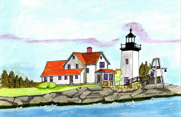 Wall Art - Drawing - Hendricks Head Light by Paul Meinerth