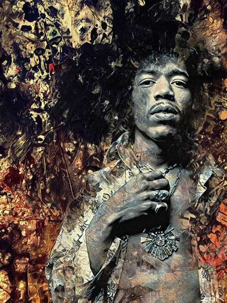 Wall Art - Painting - Hendrix - Earth Blues by Bobby Zeik