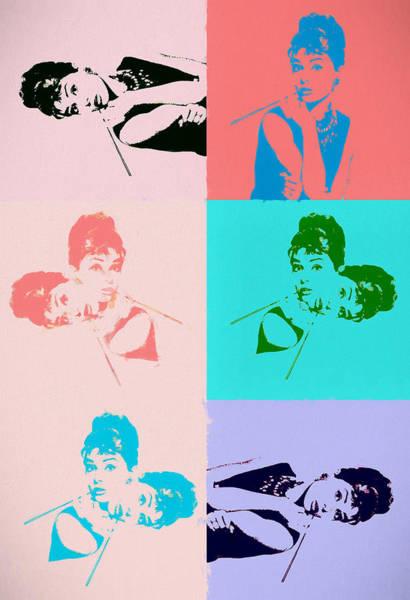 Wall Art - Painting - Hepburn Pop Art Collage by Dan Sproul