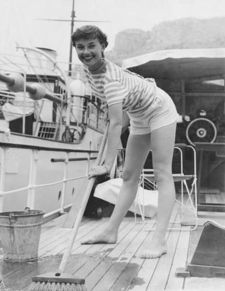 Boat Deck Photograph - Hepburn Swabs Deck by Pictorial Parade