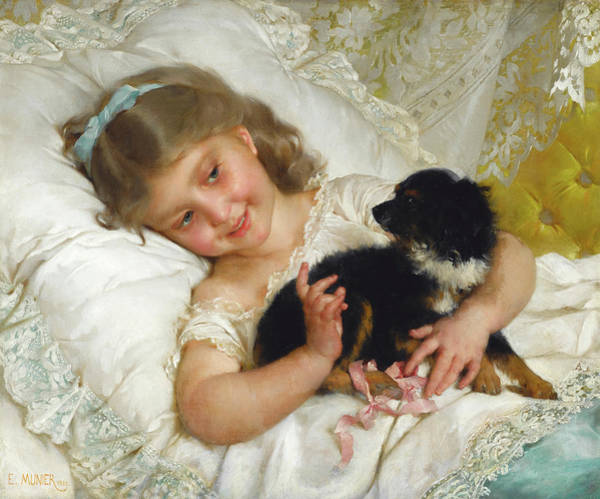 Wall Art - Painting - Her Best Friend, 1882 by Emile Munier