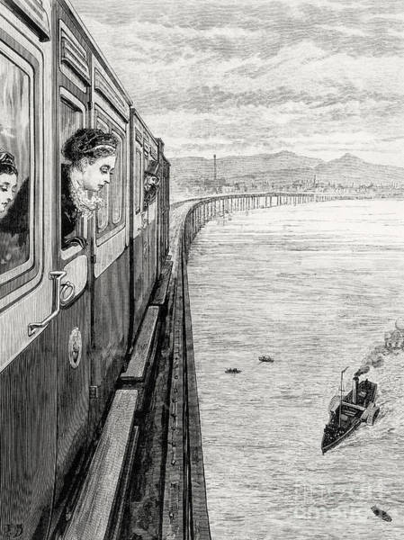 Wall Art - Drawing - Her Majesty Queen Victoria Crossing Tay Bridge, Dundee, 1879 by English School