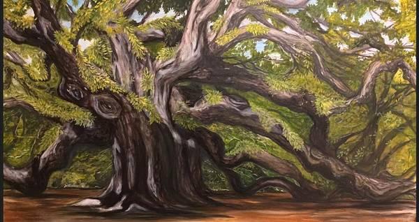 Angel Oak Painting - Her Majesty The Angel Oak Johns Island, Sc by Michele Levani