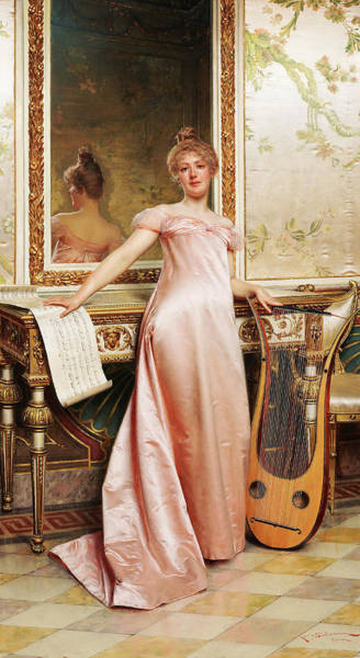 Wall Art - Painting - Her Music Lesson by Frederic Soulacroix