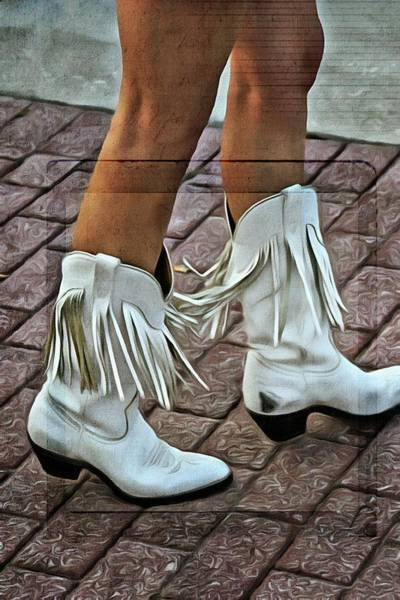Daytona Bike Week Wall Art - Photograph - Her White Fringed Scuffed Boots by Alice Gipson
