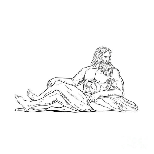 Wall Art - Digital Art - Heracles Reclining Side Drawing Black And White by Aloysius Patrimonio