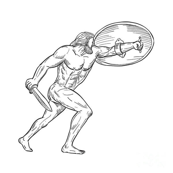 Wall Art - Digital Art - Heracles With Shield And Sword Drawing Black And White by Aloysius Patrimonio